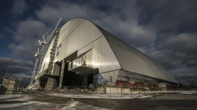 New steel radiation container swallows ruined Chernobyl reactor