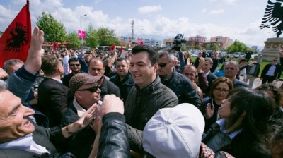 Albanian opposition steps up protests with road blockade