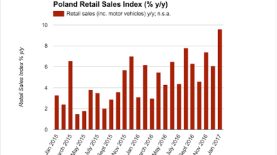 Polish retail sales surge in January