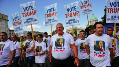 Serbia's far right Radicals hold Vote Trump rally during Biden visit