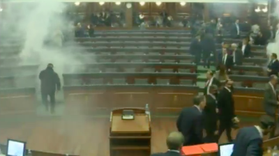 Kosovan opposition MPs release tear gas to stop vote on demarcation deal with Montenegro