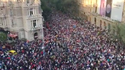 Huge crowds gather in Budapest to protest against Orban's new government