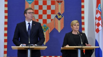 Top Croatian officials welcome Serbia's president amid protests