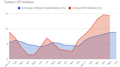 Turkey's end-year inflation expectations reach 9.55% in June