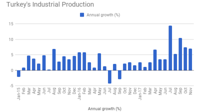 Turkey's industrial production growth slows to 7% y/y in November