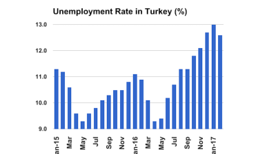 Turkish unemployment rate registers small decline to 12.6% in February