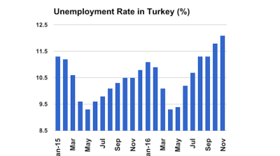 Turkish unemployment rises to 12.1% in November